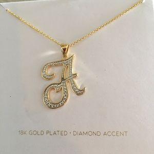 Jewelry - Script Initial A 18KGold & Diamond Accent Necklace
